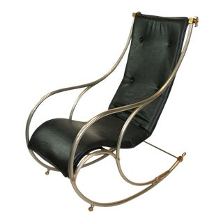 Jansen Style Steel and Brass Campaign Rocking Chair For Sale