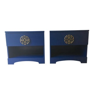 Asian Painted Navy Nightstand Pair
