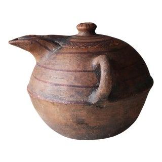 19th Century North African Tuareg Terracotta Two Handled Jug For Sale