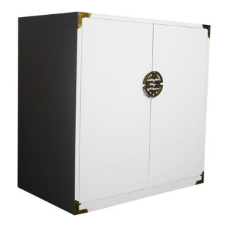 Versatile White Hollywood Regency Cabinet in White With Gold Accents For Sale