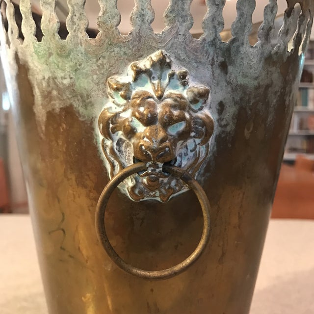 Vintage Brass Planter With Lion Head Knockers - Image 3 of 11