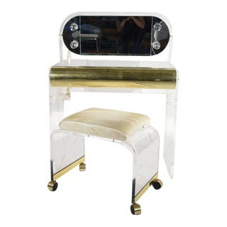 Lucite & Brass Vanity and Stool Set For Sale