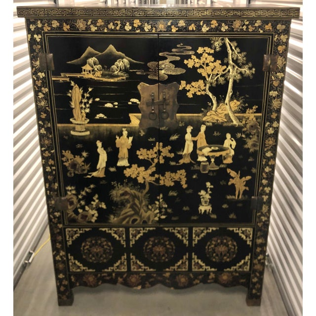 Chinoiserie Vintage Chinese Black Lacquer Chinoiserie Cabinet For Sale - Image 3 of 9