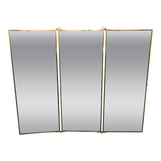 Brot Dressing Mirror With Brass Frame, French, 1940s For Sale
