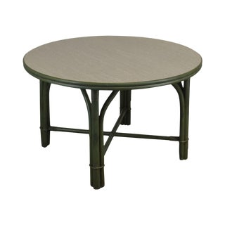 Ficks Reed Green Painted Vintage Round Side Table For Sale