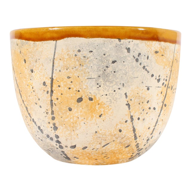 Bitossi Italian Ceramic Yellow and Gray Speckle Planter For Sale