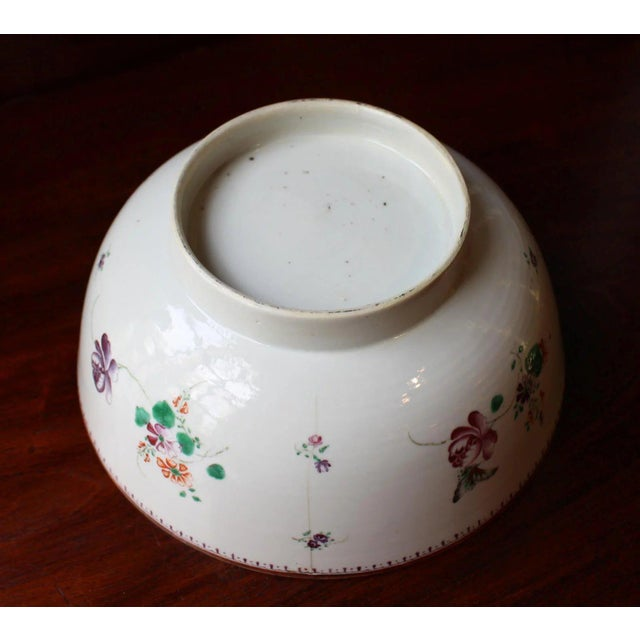 Late 19th Century 1770-90 Antique Neoclassical Chinese Export Punch Bowl For Sale - Image 5 of 7
