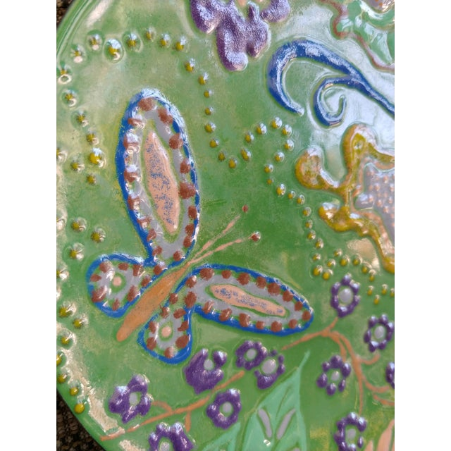Abstract Abstract Enamel on Copper Butterfly Dish For Sale - Image 3 of 7