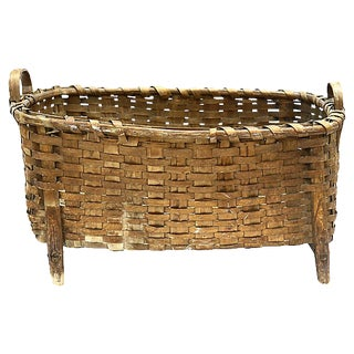 Maine Native American Wool Wash Basket For Sale
