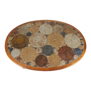 Teak Tue Poulsen Ceramic Art Tile Coffee Table by Haslev 1960s Made in Denmark For Sale