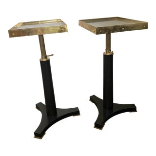 Black and Gold Small Accent Tables - a Pair For Sale