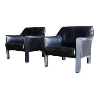 Mid-Century Modern Mario Bellini Black Leather Lounge Chairs - a Pair For Sale