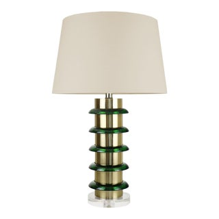 "Cameron Brass and Glass Lamp with Acrylic base with 16inch Drum Beige Linen Shade 5"", Emerald For Sale"