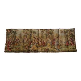 Antique Belgian Tapestry With Landscape Court Scene