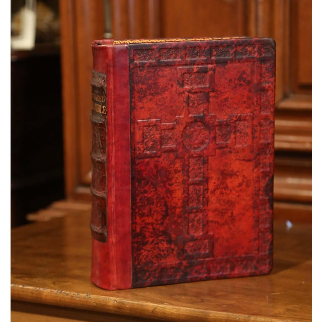 Early 20th Century Early 20th Century Leather and Gilt Illustrated King James Version Family Bible For Sale - Image 5 of 12