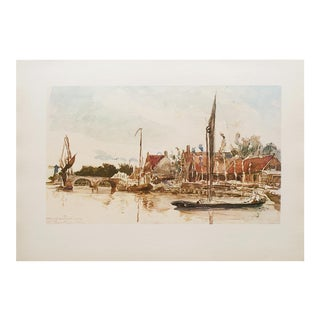 Rare 1950s Lithograph Dutch Harbor by J. B. Jongkind For Sale