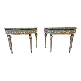 Tuscan Painted Demi-Lune Console Tables - a Pair For Sale