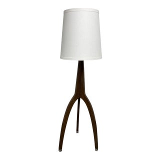 Arteriors Linden Walnut Floor Lamp with Shade For Sale