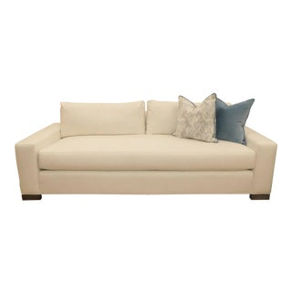 Contemporary Vanguard Furniture White Linen Sofa For Sale