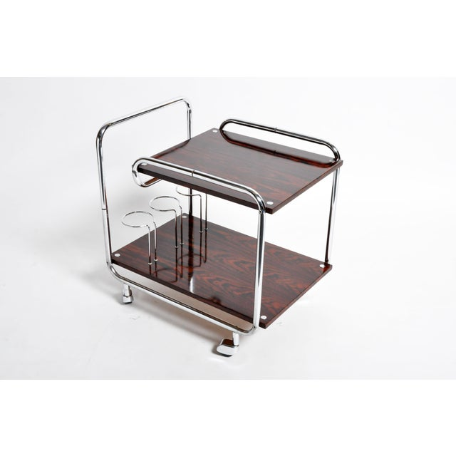 Metal Mid-Century Modern Hungarian Chrome and Rosewood Bar Cart For Sale - Image 7 of 13