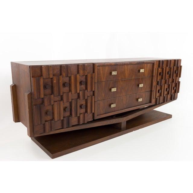 Brutalist 20th Century Brutalist Pedestal Lowboy Dresser For Sale - Image 3 of 12