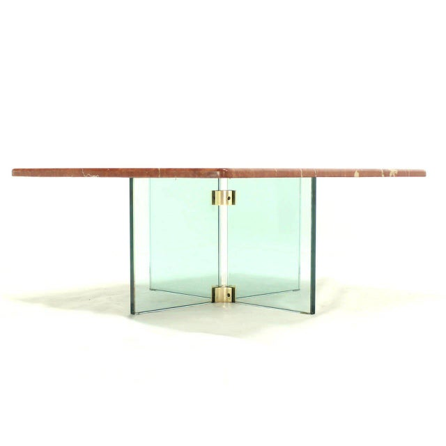 Mid-Century Modern Glass X Cross Base & Marble Top Coffee Table For Sale - Image 3 of 6