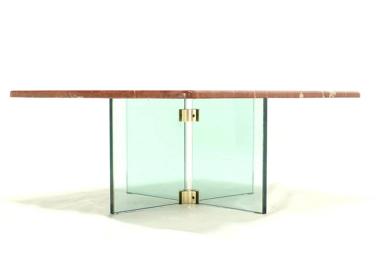 Glass X Cross Base U0026 Marble Top Coffee Table