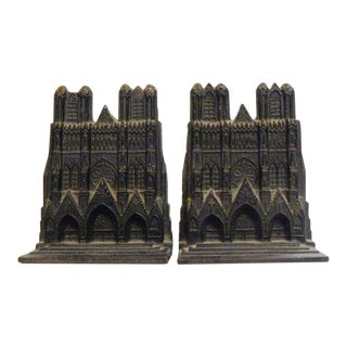 1960s Vintage Cast Iron Church Book Ends - a Pair For Sale