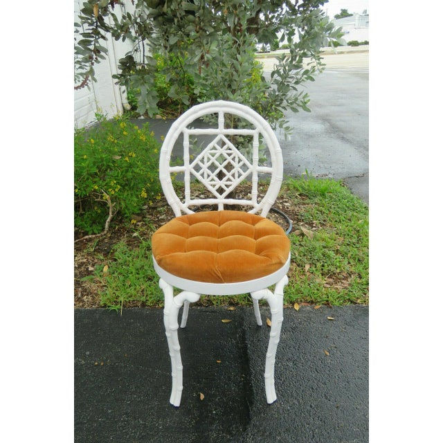 1970s Vintage Hollywood Regency Painted Iron Faux Bamboo Side Chair Stool by Kessler For Sale - Image 9 of 13