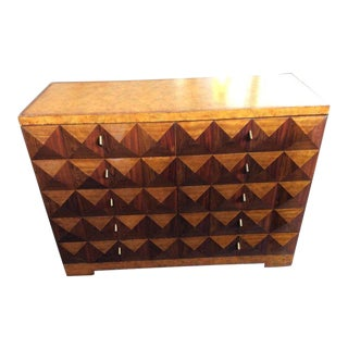 Maitland Smith Modern Parquetry Inlay Chest With Leather Top For Sale