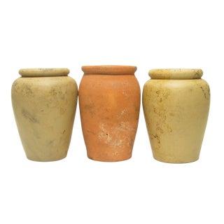 Antique English Unglazed Olive Jars C.1880, S/3 For Sale