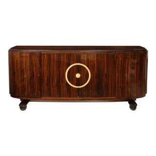 Unusual Macassar Ebony Sideboard With Central Inlaid Design For Sale