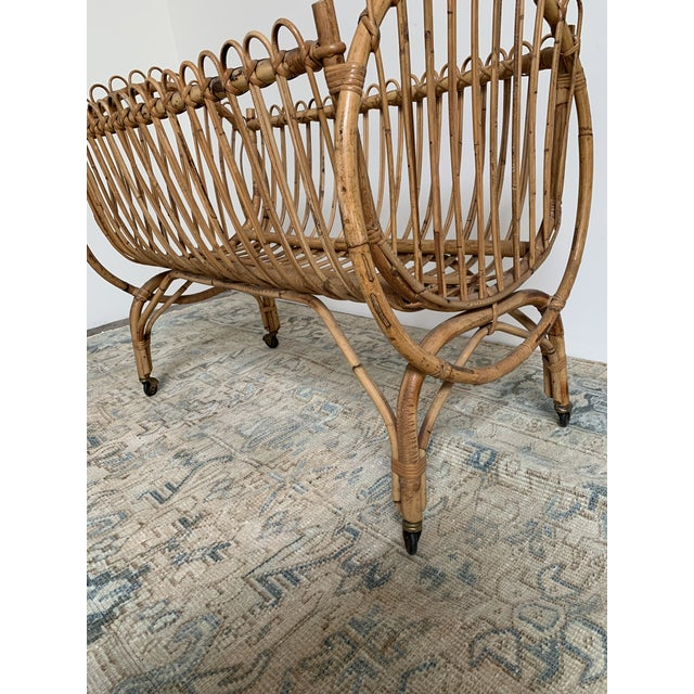 20th Century Boho Chic Rattan Bamboo Bassinet/Crib For Sale - Image 4 of 5