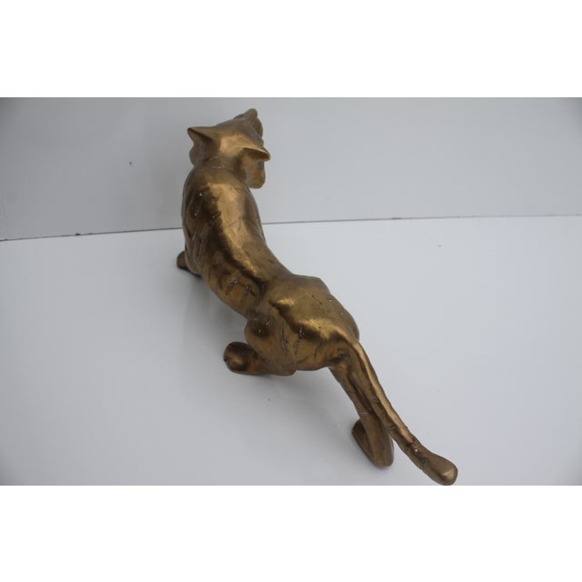 Hollywood Regency Vintage Brass Tiger For Sale In Miami - Image 6 of 8