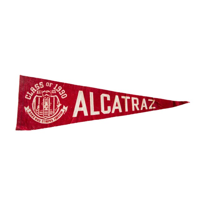 Class of 1990 Alcatraz Brass and Stripes Forever Felt Flag For Sale - Image 5 of 5