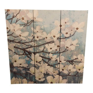 """Modern """"Cherry Blossom"""" Paintings on Canvas by James Weins - Set of 3 For Sale"""