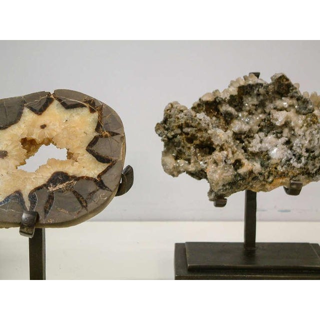 Gray 1990s Rock Crystal With Metallic Deposits Mounted on a Custom Maurice Beane Studios Stand For Sale - Image 8 of 9