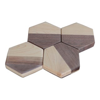 Tgm Studio Hex Maple/Walnut Coaster Set - 4 Pieces For Sale