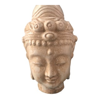 Ivory Majolica Buddha Head For Sale