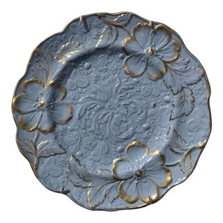 Circa 1830 Blue and Gilt Relief Ridgway Dish For Sale