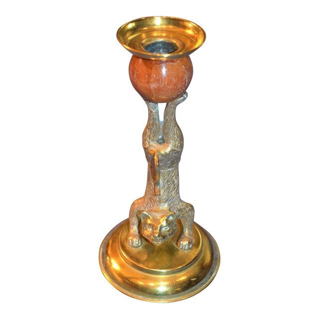 Arthur Court Vintage Brass & Teak Candle Holder - Image 1 of 4