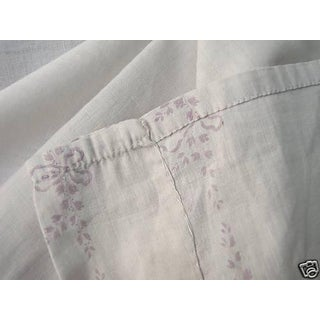 Vintage French Curtain Panel Art Deco Muslin Weight C1910 White Cotton Drape For Sale