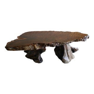 1960s Mid Century Modern California Craft Pacific Redwood Burl Root Live Edge Coffee Table For Sale