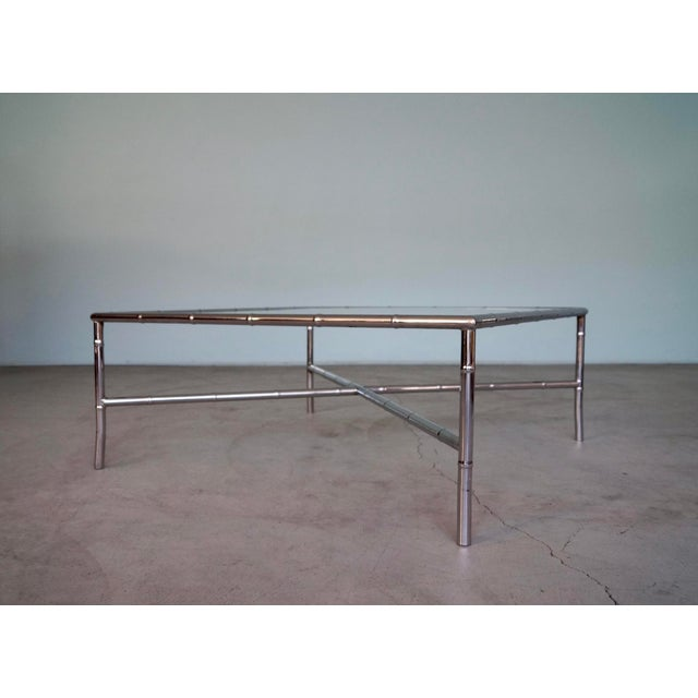 1960s Hollywood Regency Chrome Bamboo Coffee Table For Sale In Los Angeles - Image 6 of 13