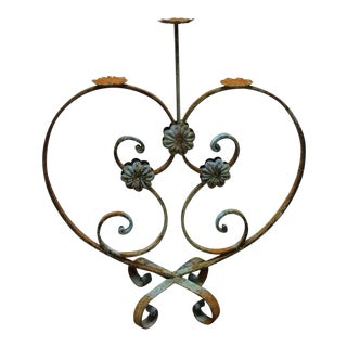 Wrought Scrolled Iron Louis XV French Regency Candelabra Candle Stand Heart For Sale