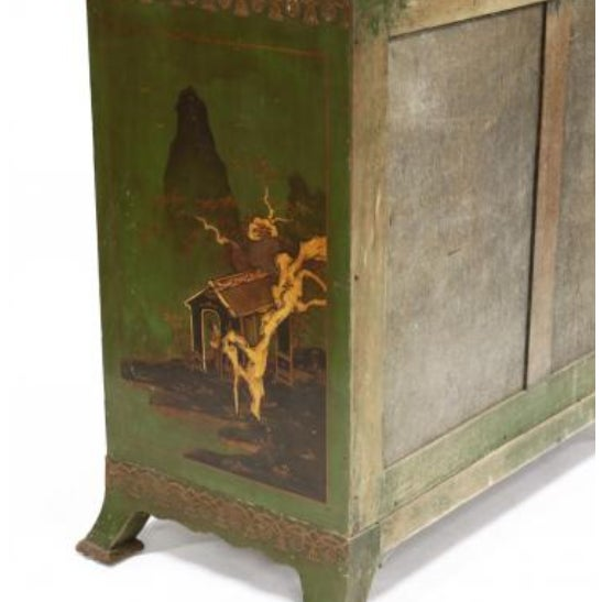 Wood Chinoiserie Decorated Bow Front Chest of Drawers For Sale - Image 7 of 8