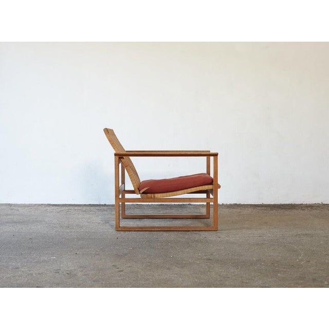 Børge Mogensen 2256 Oak and Cane Sled Lounge Chair, Fredericia, Denmark, 1950s For Sale - Image 9 of 13