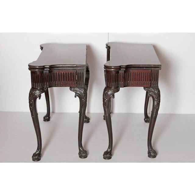 Pair of Irish Chippendale Carved Mahogany Concertina Card Tables For Sale In Dallas - Image 6 of 12