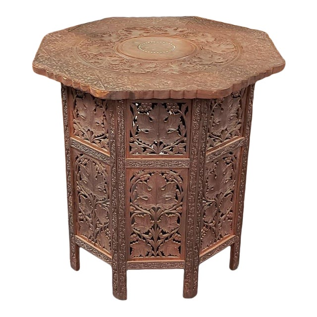 Circa 1900 Victorian Anglo-Indian Carved Padauk Wood/Brass Inlay Folding Octagonal Base Side Table For Sale
