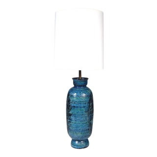 Bitossi for Raymor Tall Rimini Blue Pottery Bottle Table Lamp